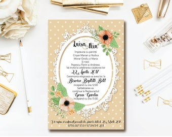 Polka Dot Country Wedding Invitations. Also as Printable Invitations