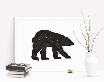 Ursa Major Bear Print  |  Constellation Print  |  Bear Print  |  Stars Print