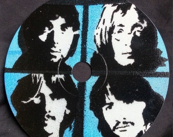 Beatles Stencil Art on a Compact Disc