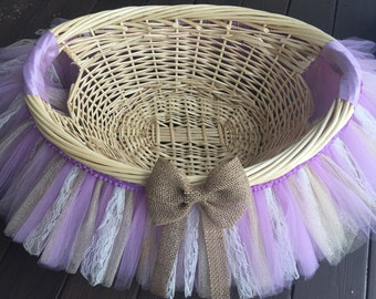 Vintage Lace Burlap and Glitter Tutu Basket, Tutu Gift Basket, Tutu Baby Shower Basket, Wedding Basket, tutu Easter Basket, Photo Prop
