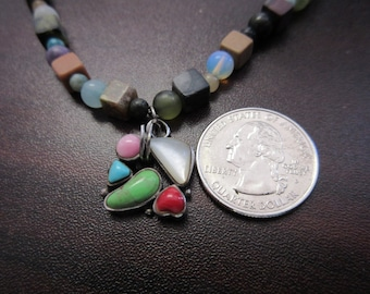 Multi Color Bead Necklace With Sterling Silver Genuine Stone Pendant