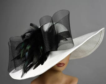 White Black Church Wedding Hat Head Piece Kentucky Derby Hat White Bridal Coctail Hat Couture Fascinator  Bridal Hat Woman Hat Summer Hat