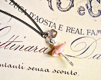 Pink ballerina long necklace, dancer necklace, prima ballerina necklace, vintage necklace