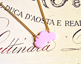 Polymer clay cloud pendant necklace - cloud necklace, simple necklace, polymer clay necklace, poetic necklace