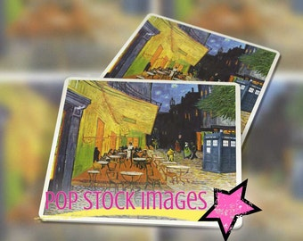 """Doctor Who Van Gogh Cafe TARDIS Coaster Kit - 3.8"""" Square Images for Tags or Coasters - DIY Coaster Printable - Instant Download"""