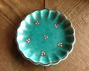 Turquoise Gustavsberg Argenta Pottery Dish with Silver Overlay, Vintage Swedish Pottery, FREE SHIPPING