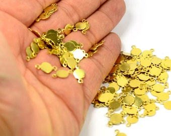 500 Pcs. Raw Brass 7 mm Round Blanks  Charms Findings