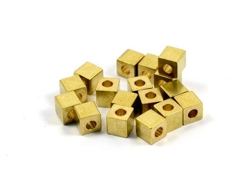 20 Pcs.Solid Brass  4x4 mm Square Bead Blanks  , Hole Size 2 mm