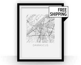 Damascus Map Black and White Print - syria Black and White Map Print