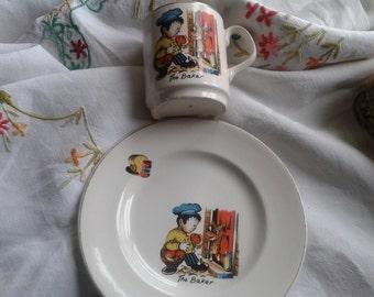 Vintage Matching China Mug and Plate Set For Children