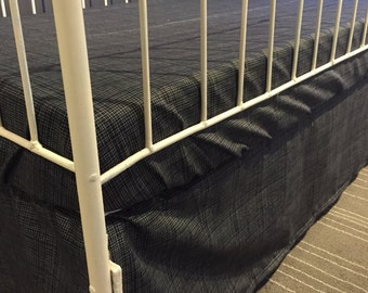 Black grid baby fitted sheet for crib