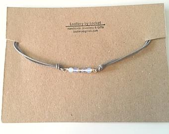 Moonstone Beaded Bracelet - Friendship Bracelet - Layering Bracelet - Grey Cord Bracelet - Moonstone Bracelet