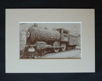 1930s Antique Apple Locomotive Print, Californian Fruit Show Exhibit, California Apples Decor, Available Framed, Food Art, Steam Engine Gift