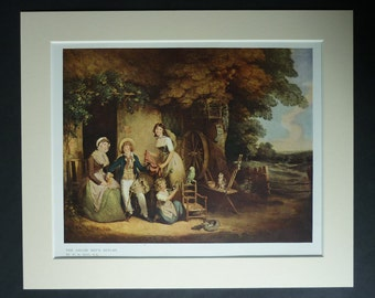 Antique William Redmore Bigg Print, Countryside Decor, Spinning Wheel Gift for Weaver, Country Cottage Picture, Available Framed, Rustic Art