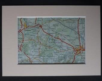 1980s Vintage French Map of Forêt de Saint-Gobain, Forest Gift, Laon Decor, Available Framed, Aisne Art, Hauts-de-France Picture, Tergnier