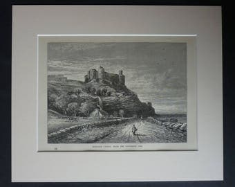 1880s Antique Harlech Castle Print, Available Framed, Welsh Art, Wales Wall Art, Gwynedd Picture, Historic Fort Gift, Medieval Architecture