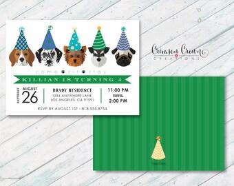 Dogs in Birthday Hats Invitation - Puppy Party Invite - Adopt a Dog Invite - Kid's Puppies Birthday - Digital File