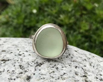 Handmade Sterling silver and sea glass ring - size UK P US 8