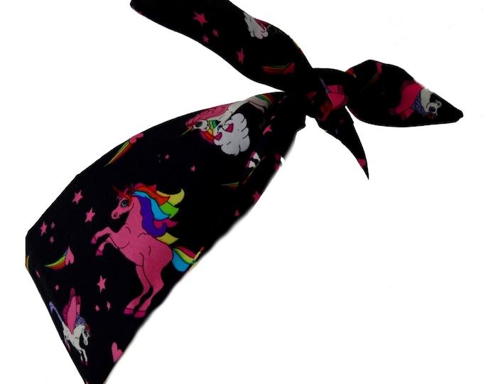 Vintage 50s Rainbow Unicorn & Stars Head Scarf - Hair Tie - 1950s Bandanna Tattoo Steampunk EMO Cute Horse Mythical Fantasy