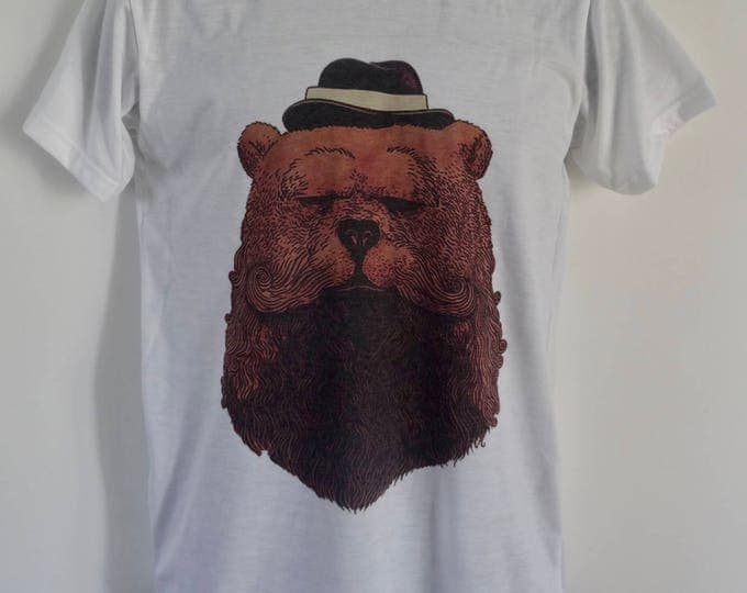 Men's Bearded Gentleman Bear T-Shirt - Tattoo Beard Alternative - UK S M L