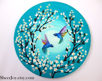 "hummingbird present, hummingbird painting, green painting, on canvas, with hummingbirds, hummingbird art, ORIGINAL painting, 20"""