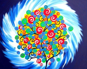 "tree of life, small painting, tree painting, tree paintings, small paintings, of trees, with, rainbow, colors, bright, circles,on, 16"" x 16"""