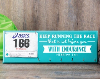 Running medal holder and race bib hanger  - Hebrews 12:1 - Keep running the race