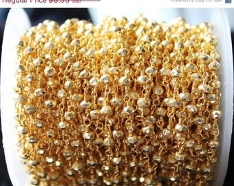 40% OFF One Foot Beautiful Golden Pyrite , 3-3.5mm 24k Gold plated wire wrapped Rosary chain by foot.(GPGP-30002)
