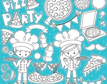 80% OFF SALE Pizza Stamps, Pizza party stamps commercial use, vector graphics, digital clip art, digital images - DS950