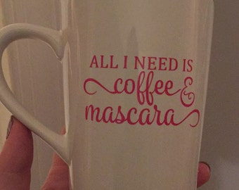 10 VINYL STICK-ONS: All I Need is Coffee & Mascara