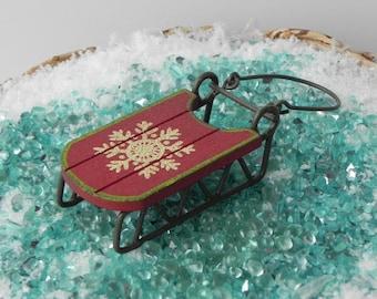 Fairy Garden sled, Christmas miniature garden supply, miniature sled, miniature sleigh, fairy garden accessories, mini sled