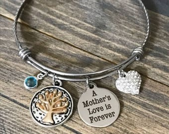 A Mother's Love is Forever - Charm Bangle Bracelet - Mothers Day Mom Birthday Christmas Gift
