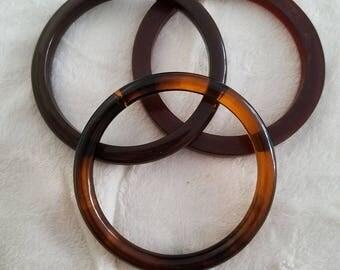 Vintage Set Of 3 Brown Acrylic Plastic Bangle Bracelets