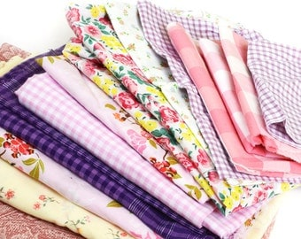 Mixed Pink Fabric Pieces · Vintage Fabric · Fabric Lot · Pink Fabric · Fabric Scraps · Big Pieces · Bag 8