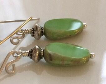 Green Glass Earrings  Bohemian Earrings  Silver Earrings  Boho Earrings  Gypsy Dangles