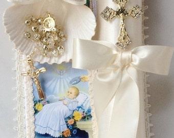 Baptism candle set, Baptism candle, vela para bautizo, vela para nino, baptism candle boy, ivory baptism candle