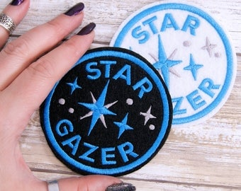 Star Gazer -  Round Merit Badge Iron On Embroidery Patch MTCoffinz - Choose Size/ Color