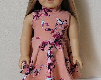Mauve, Burgundy, and Mint floral Turtleneck sleeveless skater dress for 18 inch dolls by The Glam Doll