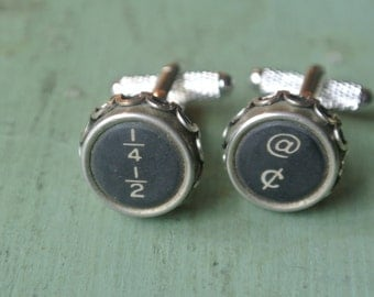 UPcycled Typewriter Cuff Links, Fraction, Repurposed, Great Gift for Him, Silver setting, TypeWriter Keys,Authentic, Tie Clip also available