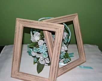 Tan Distressed 5 x 7 wood picture frames no glass or backing hand painted farmhouse decor rustic