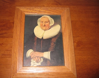 "ELISABETH BAS (1571-1649) By Ferdinand Bol Book Page In Oak Frame 7 1/2"" x 9 1/2"" New Backing, Dust Cover Sawtooth Hanger"