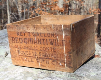 Vintage Wooden Box for Red Chianti Wine Nice Printed on 5 sides!