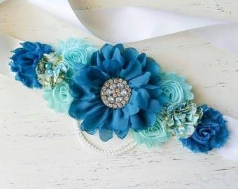 SALE Teal aqua blue Maternity Sash, it's a boy sash photography prop Maternity belt, Pregnancy sash, Flower sash, Couture flower sash
