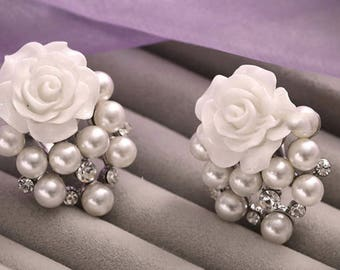 "Rose Pearl Prom Bridal Wedding Gauges tunnels Plugs 0g 00g 7/16"" 1/2"" 9/16"" 5/8"" 11/16"" 3/4"" 7/8"" 1"" 8mm 10mm 11mm 12mm 17mm 19mm 22mm 24mm"
