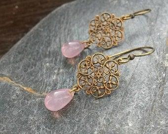 Pink Dangle Earrings/Milky Pink/Dogwood/Pink Jewelry/Pink Earrings/Cloudy Pink/Teardrop Earrings/Filigree Connector/Filigree Earrings/Glass