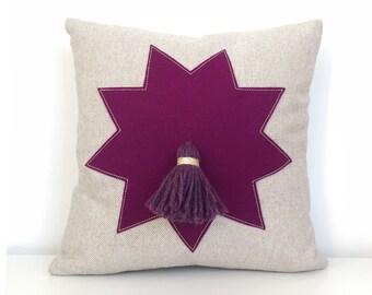 Moroccan Star Tassel Pillow in Berry Felt + Oatmeal Linen