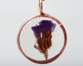 dried flower necklace, lilac summer pendant, gift for daughter, botanical jewelry, resin necklace, gift for women, unique nature jewelry
