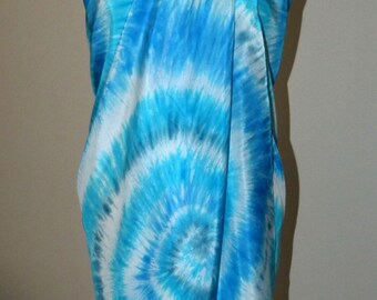 Pure Silk Sarong Pareo Shawl Wrap - Beach Cover Up – Hand Dyed, Blue.