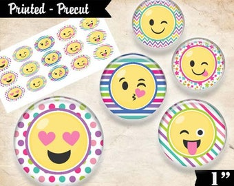 "Printed Precut: SMILEY CUTENESS 3292, Emoji Faces - 1"" DIY Craft Images Designs (4x6) Bottlecap Bottle Cap Circles"