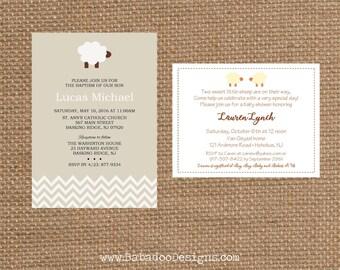 SHEEP + EWE // Birthday + Baby Shower + Baptism + Christening Invitation + Birth Announcement // Full Service Printing + Coordinating Items